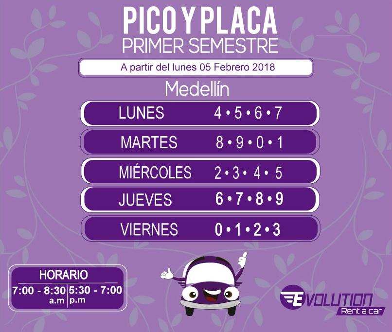 Pico y placa Medellín, primer semestre 2018