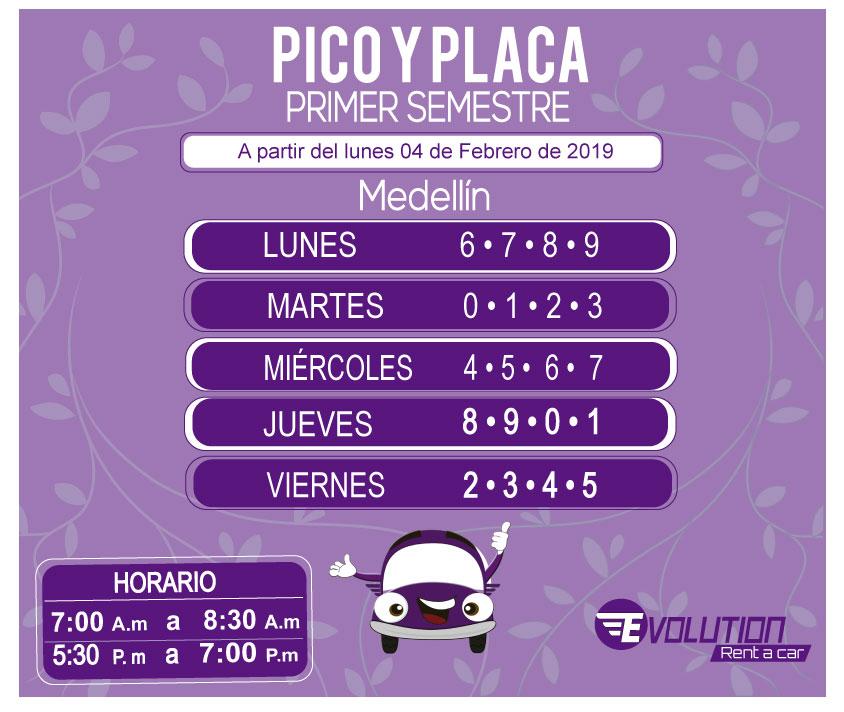 Pico y placa Medellin Primer semestre 2019